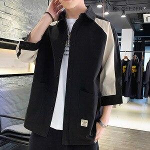 Image 4 - Koszula męska rękaw 3/4 Patchwork 100% bawełna lato luźne Casual Street koszule Tuxedo formalna moda sukienka koszula