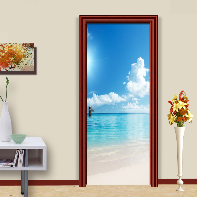 Blue Sky White Clouds Beach Ocean View Modern Living Room Bedroom Door Mural Sticker PVC Waterproof Wallpaper Papel De Parede 3D blue sky white clouds photo wallpaper custom ceiling mural hotel dining room living room frescoes home decor papel de parede 3d