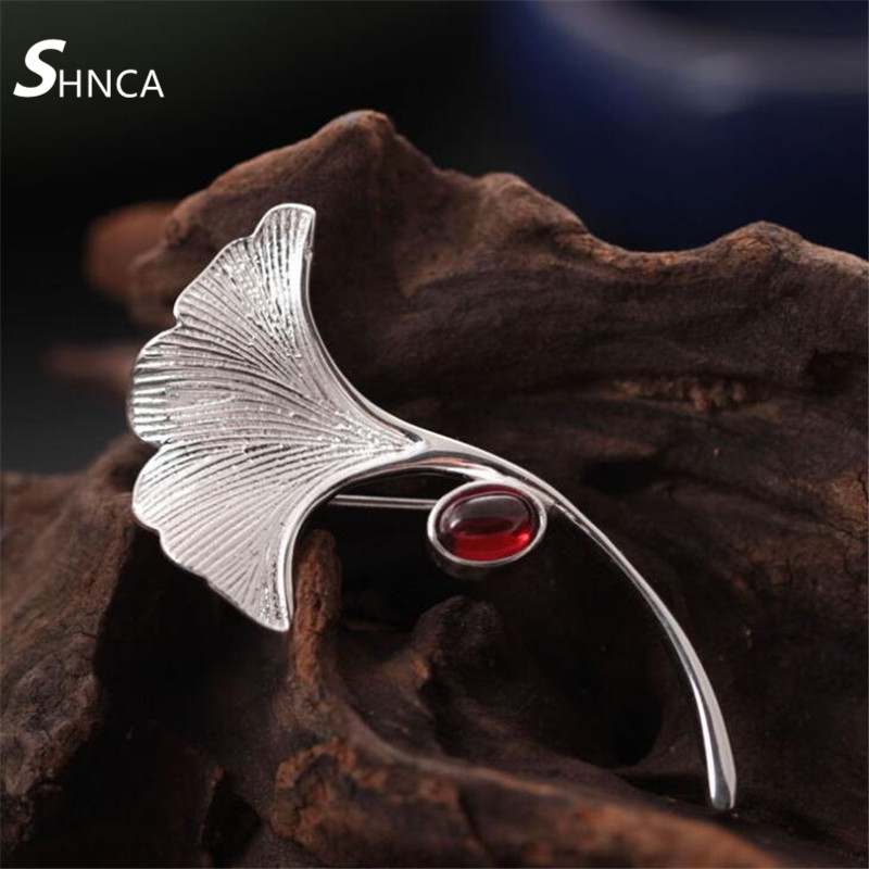 SHNCA Fine Jewelry Genuine 100% 925 Sterling Silver Vintage Ginkgo Leaf Brooch Fashion Pins Brooches For Women Jewelry F018