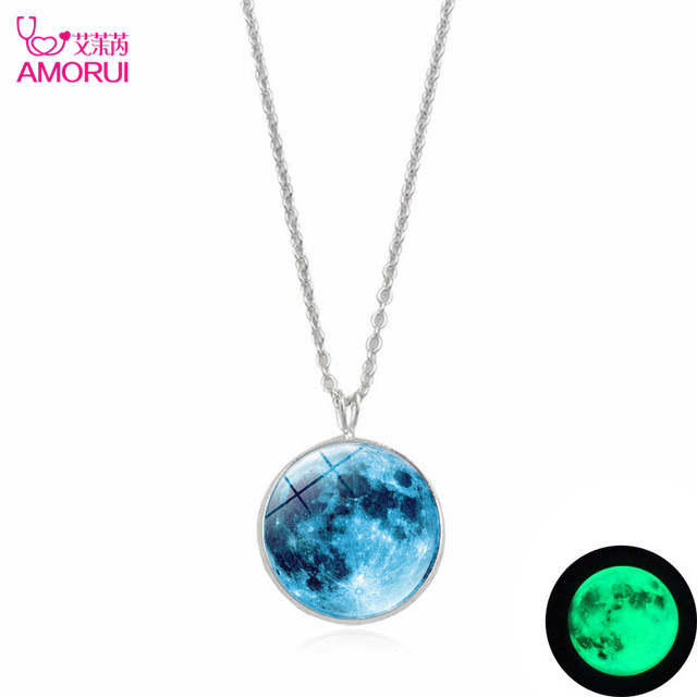 AMORUI Fashion 25mm Sky Blue Galactic Planet Glass Cabochon Luminous Pendant Necklace Silver Alloy Necklaces For Women Jewelry