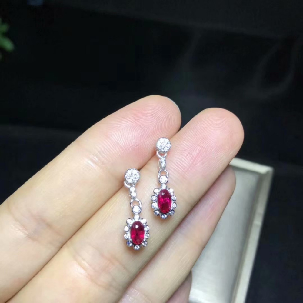 все цены на natural red ruby stone drop earrings 925 silver Natural gemstone earring women Fashion round Sun flower party gift fine jewelry онлайн