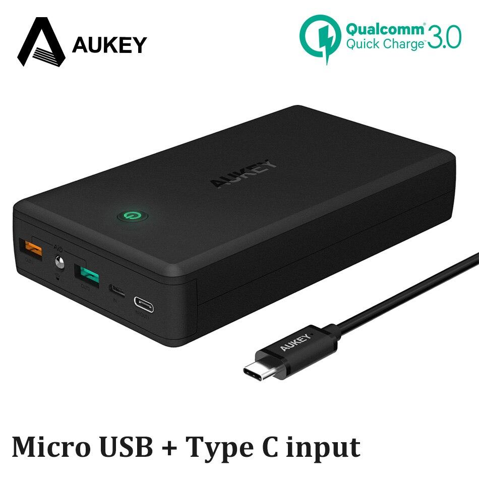 Energienbank für Xiaomi, AUKEY Quick Charge 3,0 Energienbank 30000 mAh Tragbare Externe Batterie Schnelle Ladegerät Powerbank für Samsung