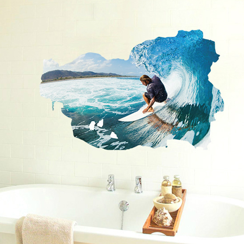 2016 New 3d Wall Stickers Surfing Sea Wave Ocean Sticker Wall Decal