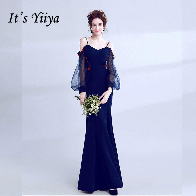 It's YiiYa Fashion Designer   Prom   Gown Simple Flower Pattern Mermaid Elegant Slim   Prom     Dresses   Evening   Dress   LX206