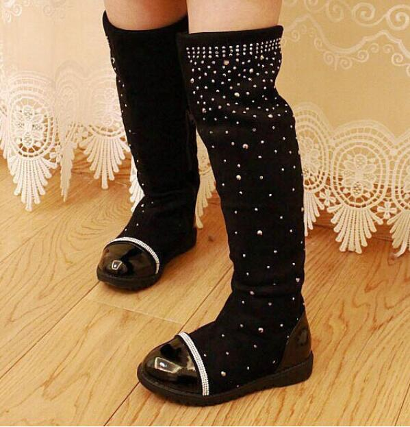 Winter Kids Snow Boots Female Fashion Girls Princess Rhinestone Knee-length Martin Boots Child Casual Sport Shoes Baby Sneakers