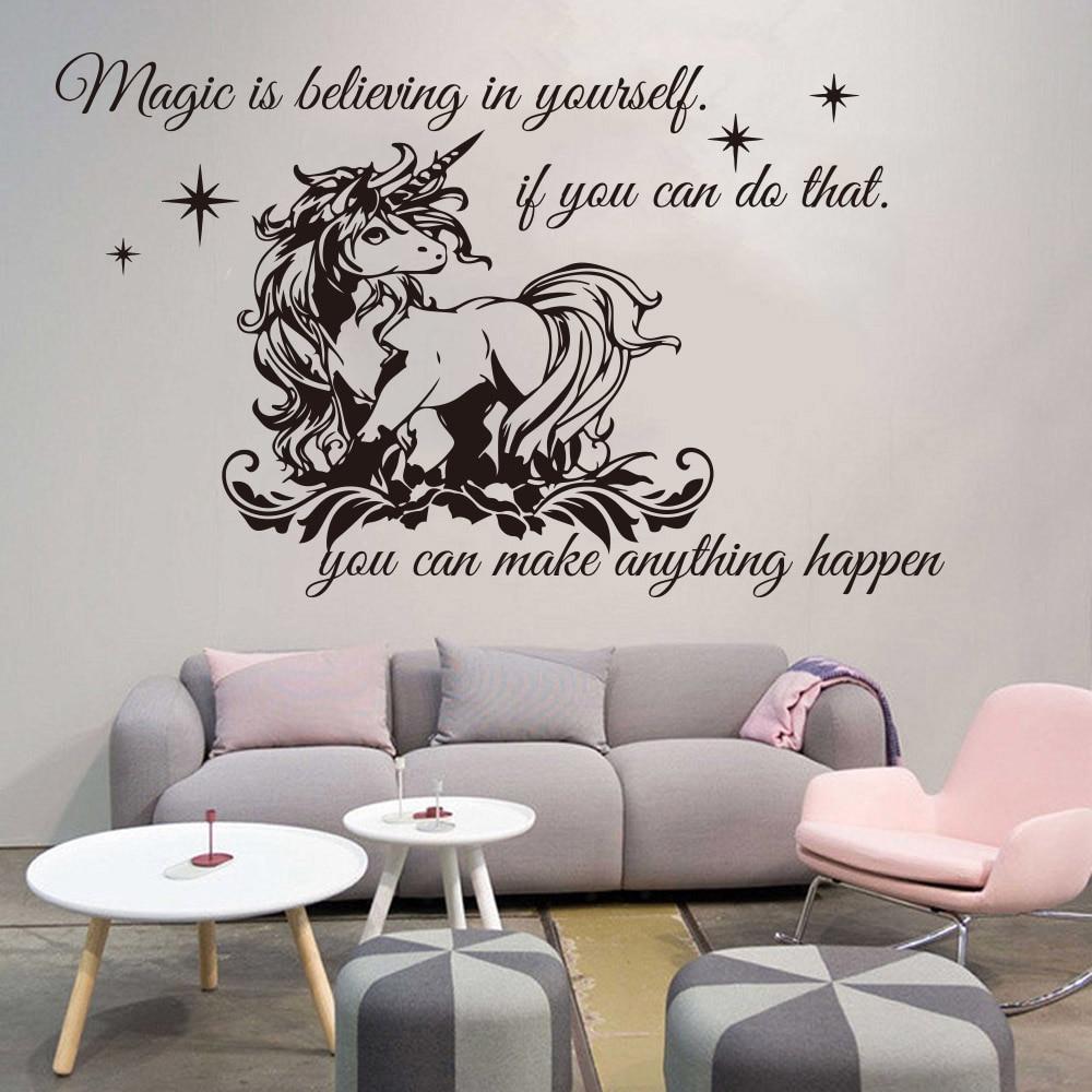 Unicorn I Believe in Myself Plastic Door Knob Hanger Sign
