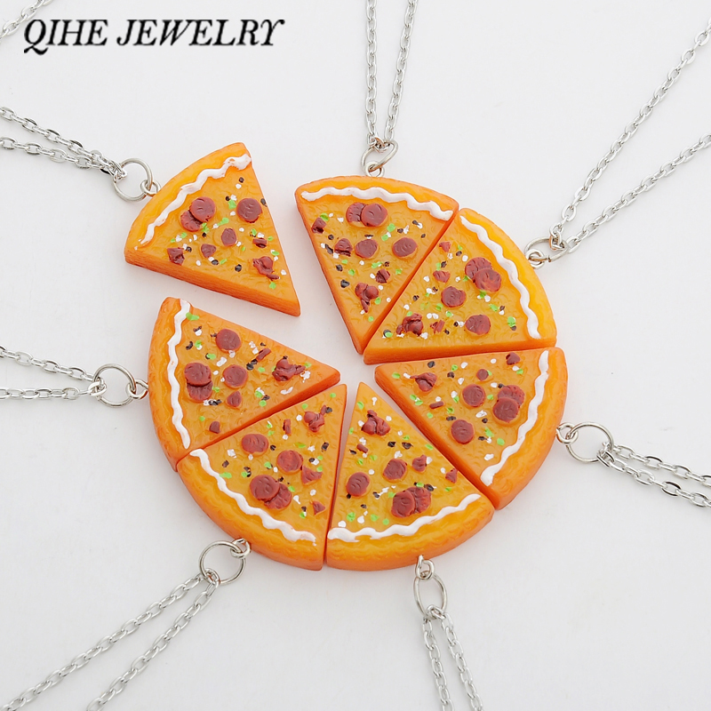 QIHE JEWELRY 7 PCS In 1 Set Pizza Necklace Best Friends Forever Necklace For Women Men Children Friendship Best Gifts colar