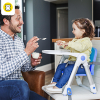 BAAOBAAB Collapsible Foldable Portable Dining Booster Seat Safety Belt Highchair Baby Child Kids Dinner Feeding Chair