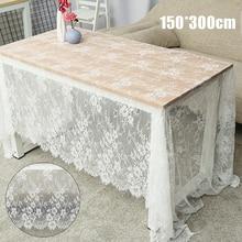 Mantel de encaje blanco Vintage decoración del banquete de boda translúcido cubierta de mesa bordado para decoración del hogar 150*300cm