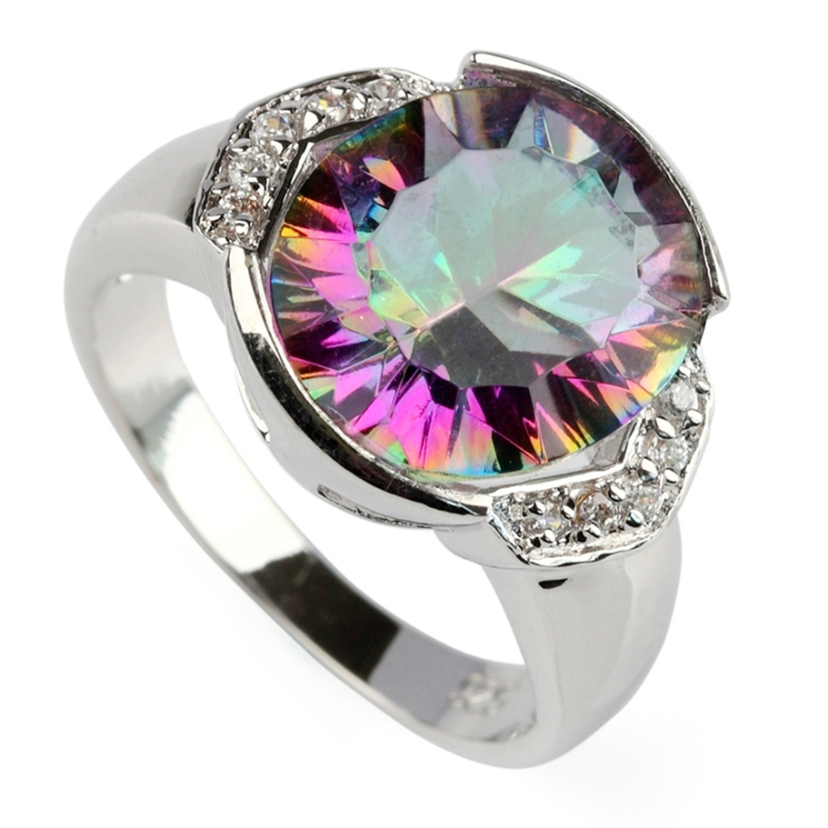 Fleure Esme Cute Rainbow Mystic and white Cubic Zirconia Rhodium Plated Ring R786 Size #6 8 9 Promotion Rave reviews Favourite