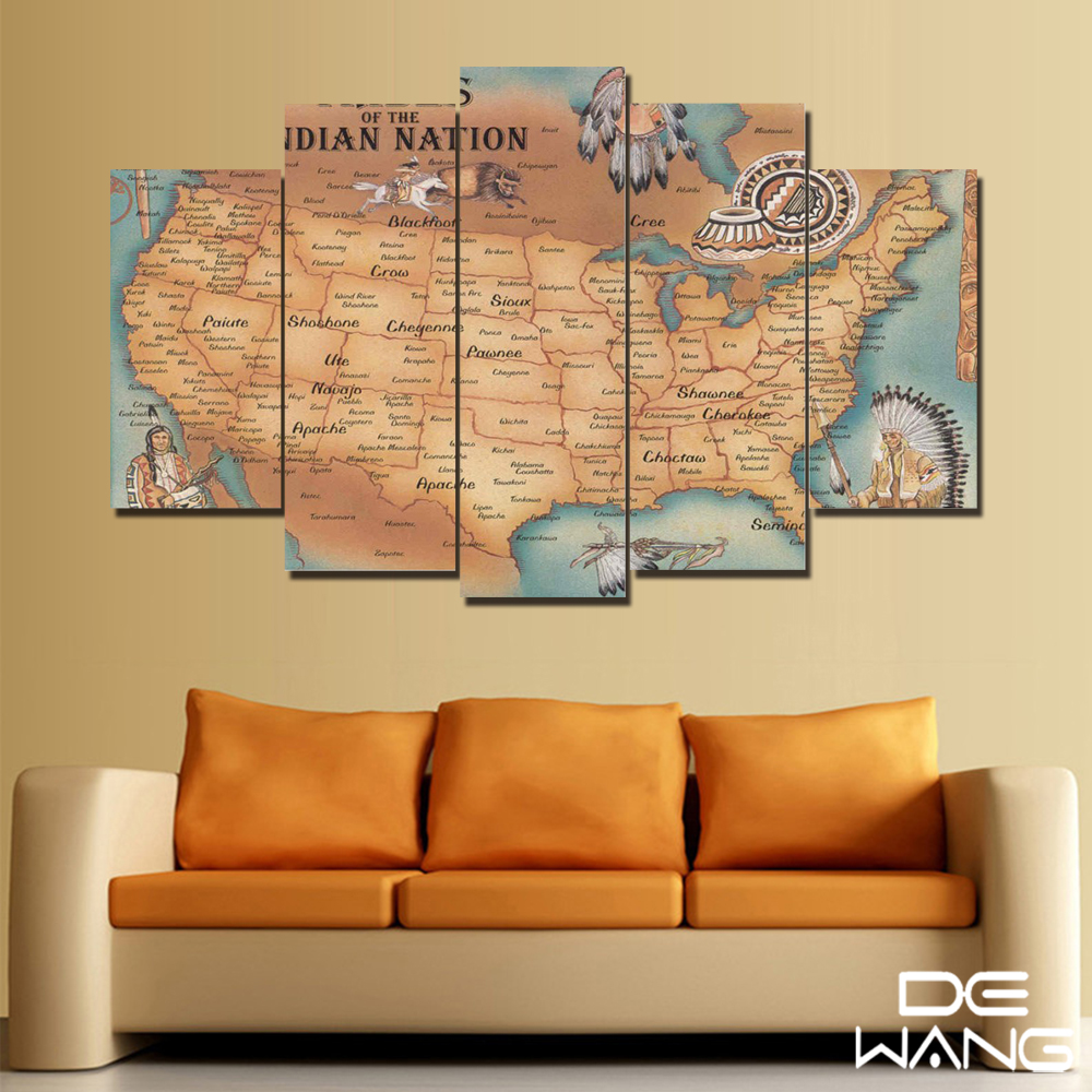 Large Watercolor Canvas Art Picture Retro Indian Maps World Map Wall ...