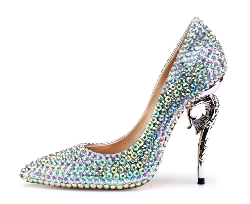 Newest Style Women Crystal Embellished Slip On Party High Heel Shoes Summer Pointed Toe Strange Metal Heel Shallow Pumps 2018 women yellow high heel pumps pointed toe metal heels wedding heel dress shoes high quality slip on blade heel shoes