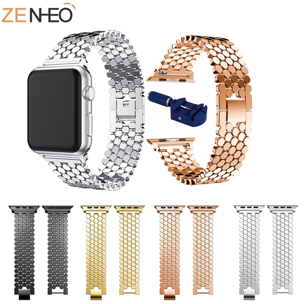 Watchband Luxury Stainless Steel Band For Apple Watch Series 3 2 1 42MM 38MM Strap Bands For Apple Watch 4 40mm 44mm Bracelet