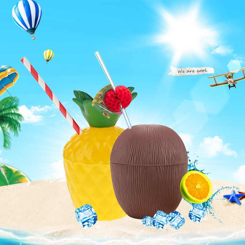 1pc Novelty Toys Tropical Fruit Shape Pineapple Coconut Drink Cups Hawaiian Luau Summer Beach Party Birthday Decorations
