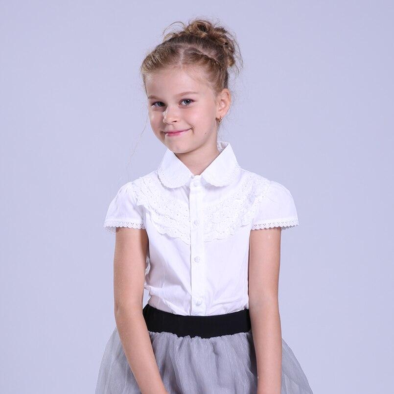 6fdb21a658 Blusa blanca de algodón de verano para chicas grandes Blusa de encaje para  niñas Camisas Casual