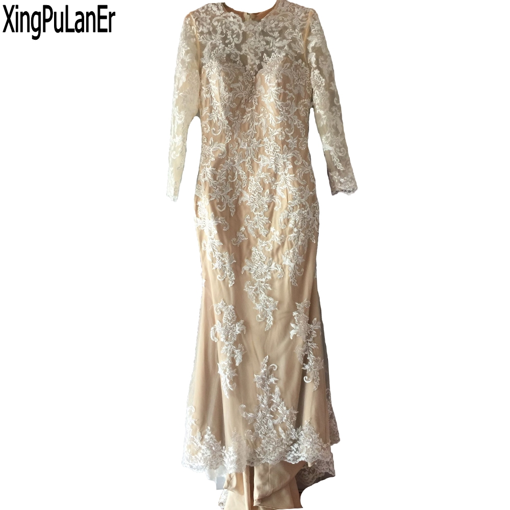 robe de soiree Mermaid Long Sleeves White Lace Champagne Girls Sexy Elegant Evening Dresses Formal Evening Prom Gowns