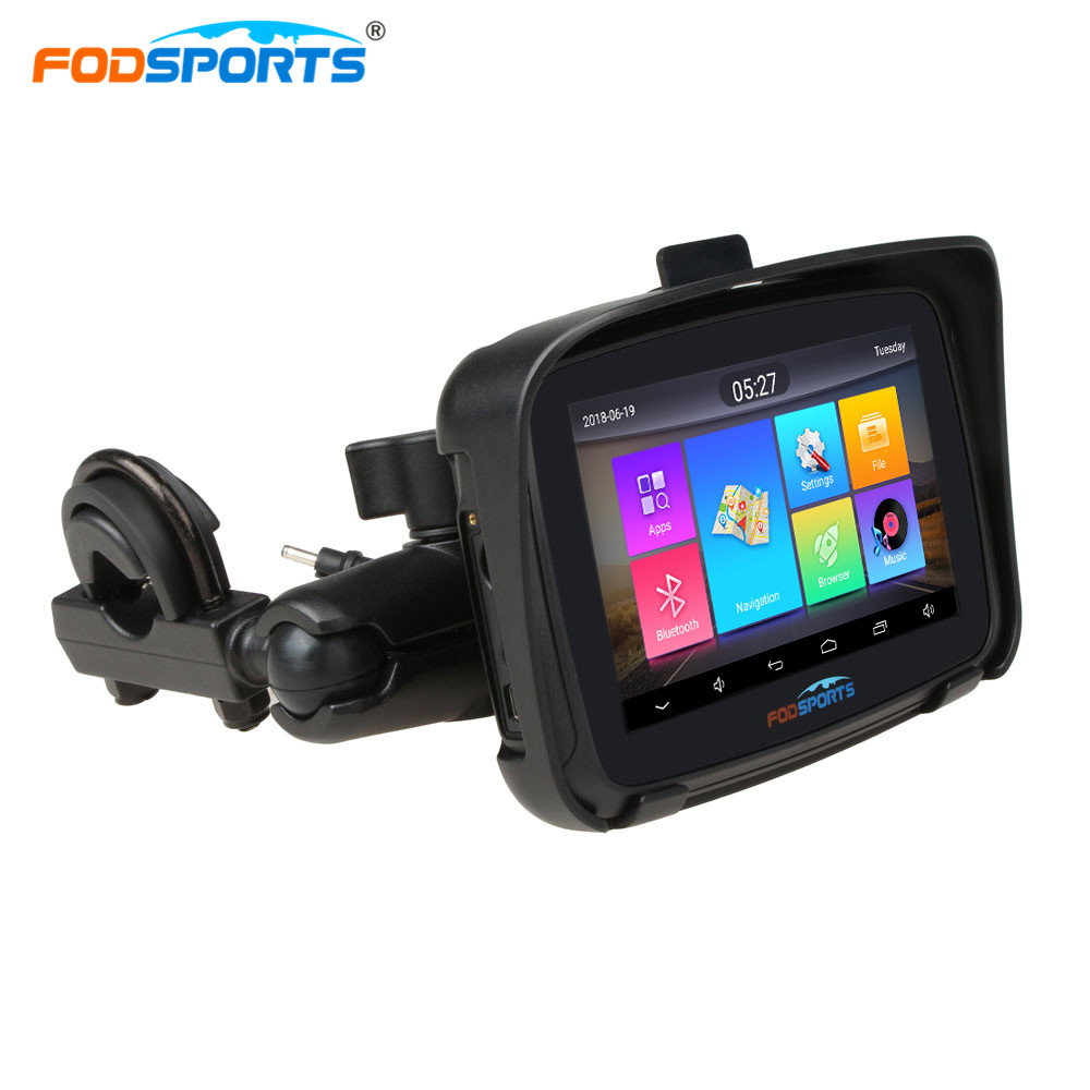 Fodsports Motorcycle GPS RAM 1G ROM 16G 5 Inch Android 6.0 Waterproof Motorcycle Navigation Motorcycle Bluetooth GPS Free Map