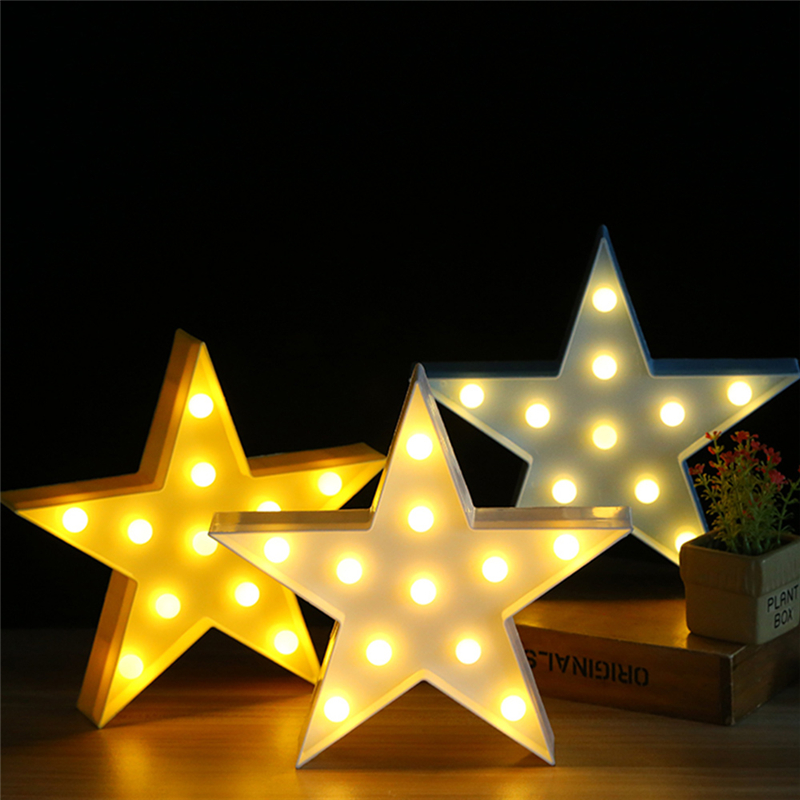 <font><b>3D</b></font> <font><b>Star</b></font> <font><b>LED</b></font> Night Light Marquee Pentagram <font><b>Lamp</b></font> For Birthday Wedding Party Bedroom Wall Hanging Decor Valentine's Day Gift Decor image