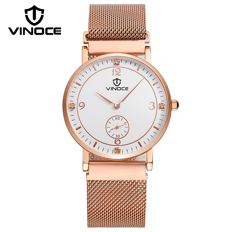 VINOCE Mens Watches Top Brand Luxury Ultra-thin Stainless Steel Band Watch Men Fashion Clock Men Gold Relogio Masculino V6275GT mcykcy fashion top luxury brand watches men quartz watch stainless steel strap ultra thin clock relogio masculino 2017 drop 20