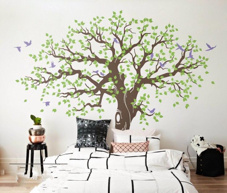 269X233 cm grand arbre vert avec oiseaux Sticker Mural vinyle salon Art Mural décor à la maison 3d affiche vinilos paredes Mural D984