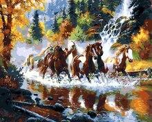 Kein rahmen benz pferd tiere malerei by zahlinstallationssätze malen auf leinwand acryl färbung painitng by zahlen für home wand Decor