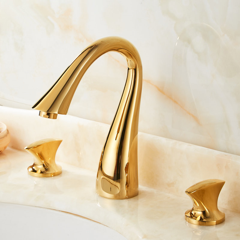 Bathroom Basin Faucet Brass Sink Widespread Mixer Tap Deck Mounted Double Handle 3 Hole Hot Cold Wash basin Faucet Golden Swan Bathroom Basin Faucet Brass Sink Widespread Mixer Tap Deck Mounted Double Handle 3 Hole Hot Cold Wash basin Faucet Golden Swan