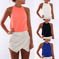 2016 summer women t shirt vestidos chiffon white candy color sleeveless off shoulder crop tank tops casual blouse female shirts