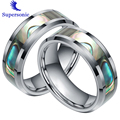 Colorful Shell Lovers Wedding Rings Stainless Steel Ring Tungsten Stunning Textured Rings Fashion Jewelry