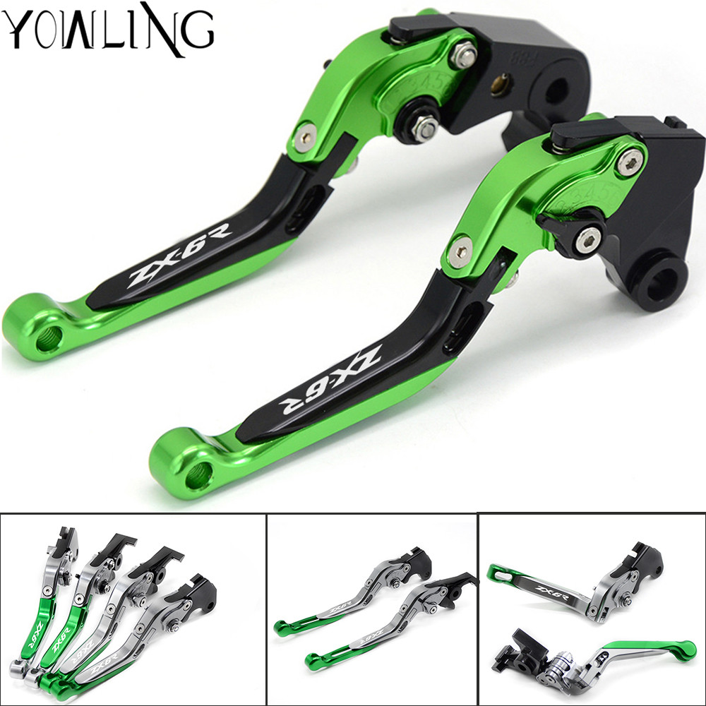 Motorcycle Adjustable Brake Clutch Levers For Kawasaki ZX6R ZX636R ZX-6R ZX 6R 2007 2008 2009 2010 2011 2012 2013 2014 2015 2016 adjustable long folding clutch brake levers for ducati streetfighter s 09 10 11 12 13 2012 2013 1098 r tricolore 07 08 2007 2008