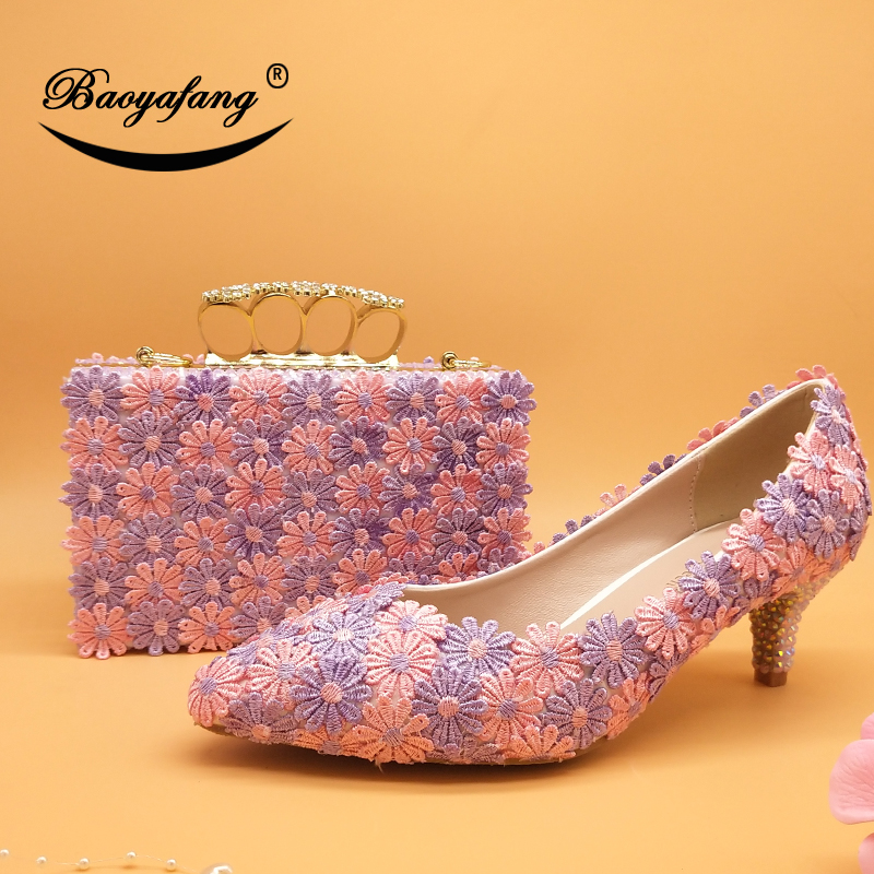 BaoYaFang Baby Pink violet Flower Wedding shoes with matching bags Ladies  woman sweet party dress shoe Pointed Toe PumpsBaoYaFang Baby Pink violet Flower Wedding shoes with matching bags Ladies  woman sweet party dress shoe Pointed Toe Pumps