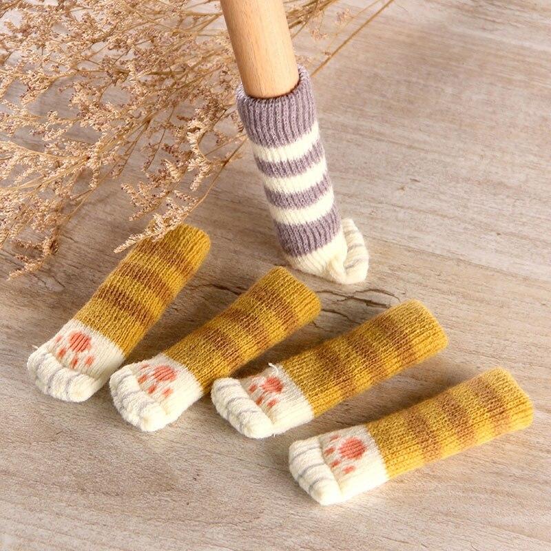 4 pçs gato pata mesa pé meias cadeira perna capas protetores de chão antiderrapante tricô meias para móveis desenhos animados decoração de casa