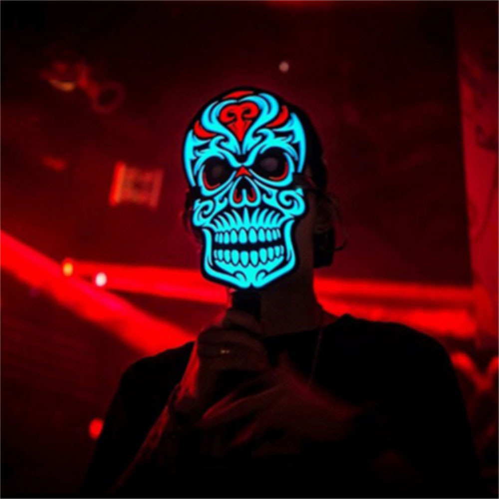 Led Voice-activated Music Mask Clothing Terror Masks Cold Light Helmet Fire Festival Party Glowing Dance Steady On Driver Smart Electronics