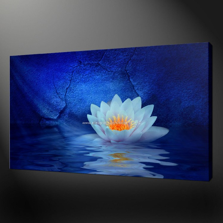 Water Lilies Premium Quality Canvas Picture Wall Art Oil ...