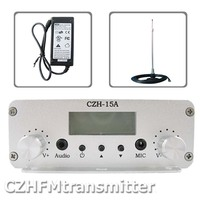 FMUSER CZE 15A 15W FM stereo PLL broadcast transmitter radio 87.5 108mhz +antenna for car kit free shipping