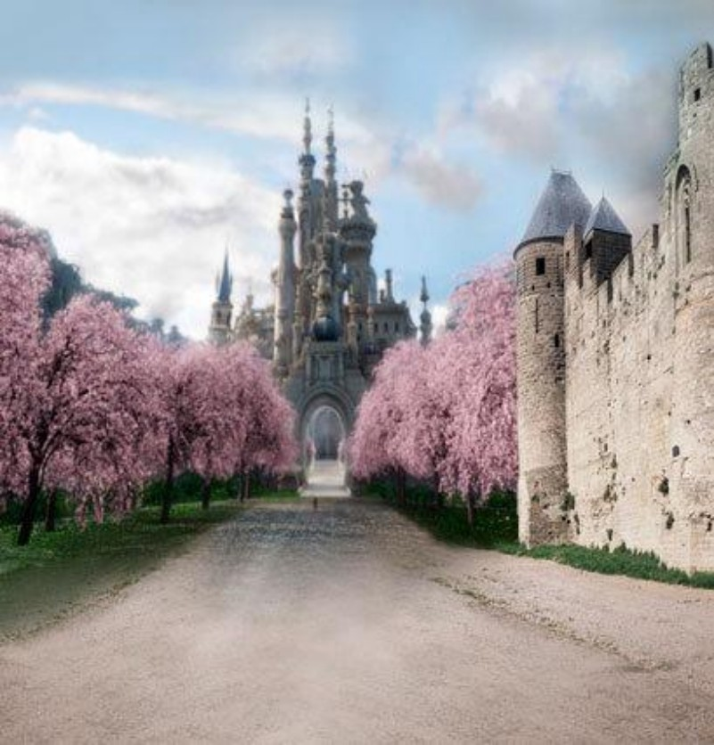 Medieval Fairy Tale Princess Castle Pink Flower Tree backdrop Vinyl cloth High quality Computer print wall Backgrounds светильники trousselier абажур princess fairy 34х22 см