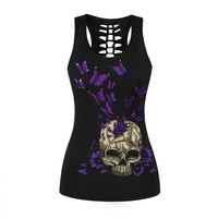 2017 New Women Top Camisole Tank Tops Punk Style Purple Butterfly Skull 3D Printed Black Back