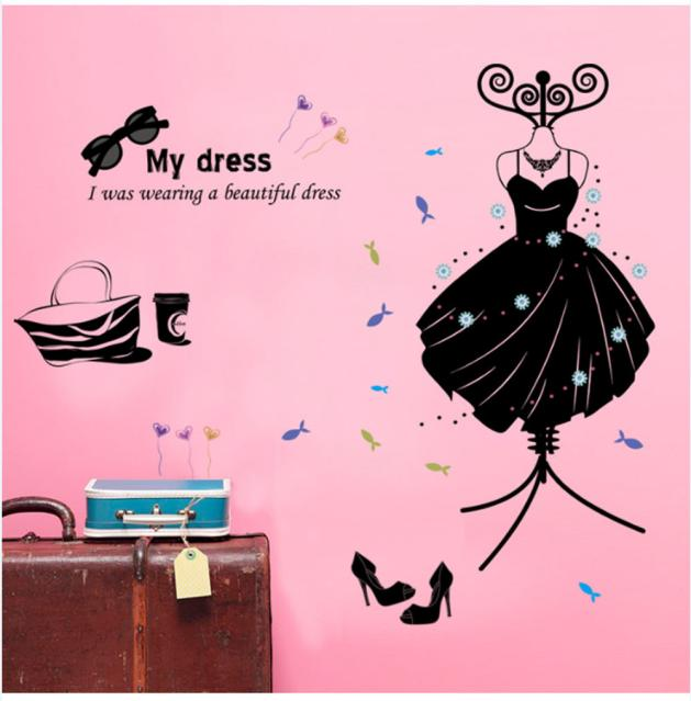 Fashion Boutiques Decoration My Dress Wall Stickers Decals Art Pvc