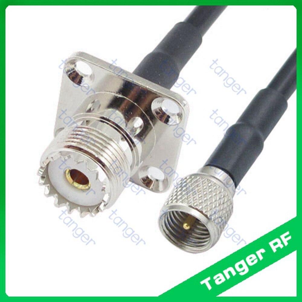 Mini UHF male plug PL259 SL16 to UHF female 4 four hole panel SO239 straight RF RG58 Pigtail Jumper Coaxial Cable 3feet 100cm 5m coaxial cable uhf pl 259 male to female for motorola mobile radio antenna vhd35 t50