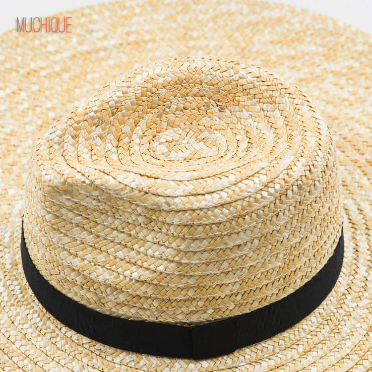 5008c178a2fbb7 ... Muchique Sun Hat X Large Brim Wheat Straw Panama Fedora Hat Summer  Straw Hats for Women