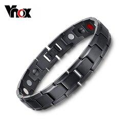 Vnox Health Magnetic Bracelet Men Jewelry Black Stainless Steel Chain Adjustable free box