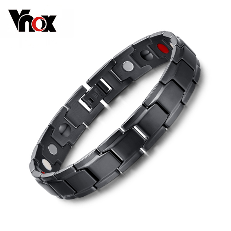Vnox Health Magnetic Bracelet Men Jewelry Black Stainless Steel Chain Adjustable free box