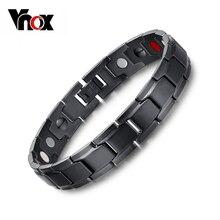 Vnox Health Magnetic Bracelet Men Jewelry Black Plated Stainless Steel Hand Bracelets Bijoux