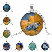 2019 New Hot Star Night Van Gogh Sunflower Oil Painting Round Glass Convex DIY Dome Pendant Necklace
