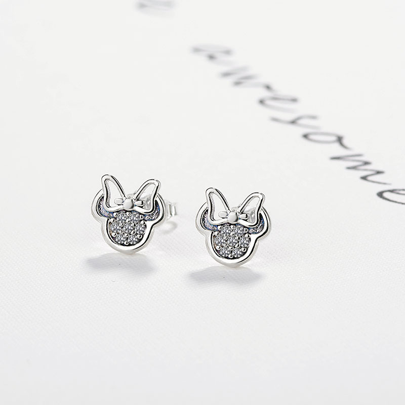 CUTEECO Silver Color Cute Stud Earrings For Children Girls Jewelry White Mickey Shape Sparkling Minni Brand Earrings