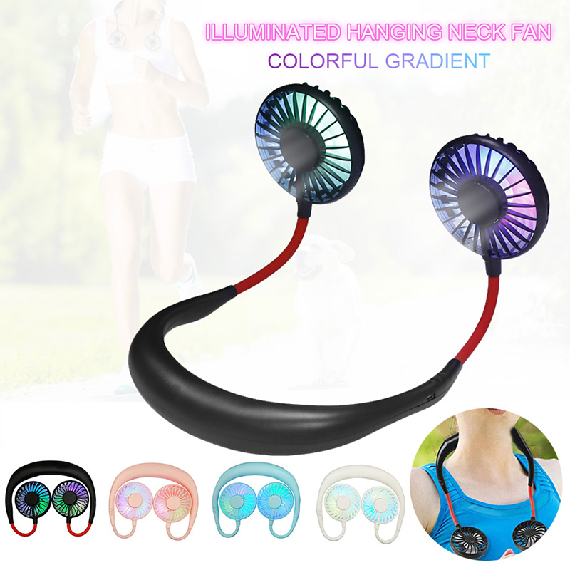 Hands-free Neckband Fan With Light Mini Portable Hanging Fans USB Rechargeable Battery Operated Dual Wind Head Summer Air Cooler