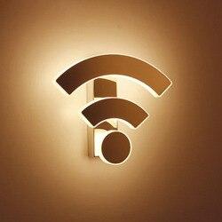 Śmieszne WIFI Logo kształt akrylowe ściany światła Led kryty lampy ścienne Led kinkiet kinkiet oświetlenie do sypialni salon schody w Wewnętrzne kinkiety LED od Lampy i oświetlenie na