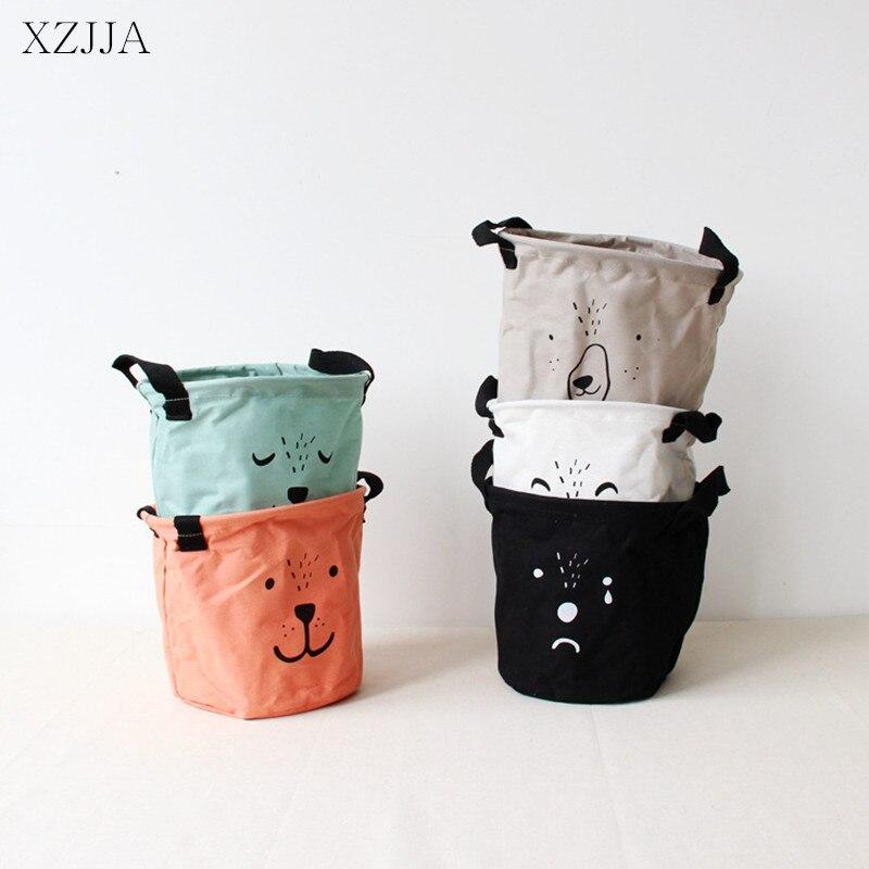 XZJJA Cute Bear Cotton Linen Sundries Toys Storage Box Baskets Foldable Dresser Desktop Makeup Organizer Stationery Container