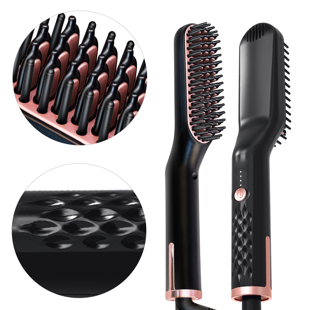 3 In 1 Hair Comb Beard Brush Straightener Straighten Multifunctional Styling
