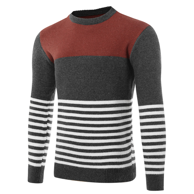 2017 high quality hit color striped knitted sweater male New Autumn&Winter  thin sweater men brand clothing