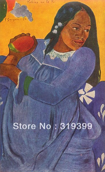 Paul Gauguin  Oil Painting Reproduction on Linen canvas, Woman with Mango ,Free DHL Shipping,Museum Quality,100%handmadePaul Gauguin  Oil Painting Reproduction on Linen canvas, Woman with Mango ,Free DHL Shipping,Museum Quality,100%handmade